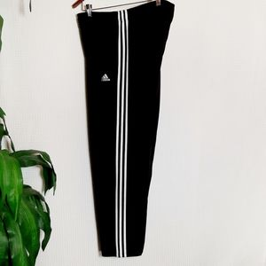Adidas Black Jogging Track Pants White Stripes XL